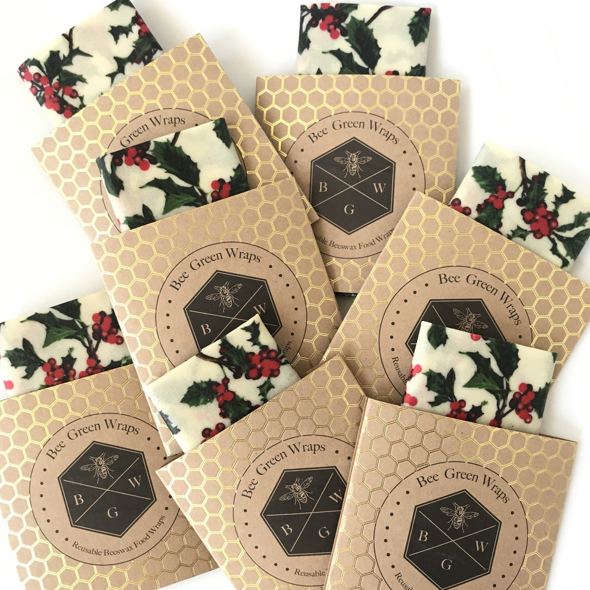 5 X Christmas Holly Wraps – 100% Cotton